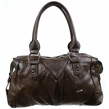 LADIES REAL LEATHER HANDBAG SHOULDER BAG TAN BROWN BLACK FAWN