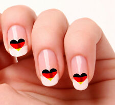 20 Nail Art Decals Transfers Stickers #273 - German Flag Heart
