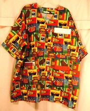 Bright & Fun Tailgating Icons Scrubs Top with 3 Pockets for Size 3X  FSMTP34