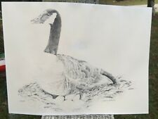 Vintage 41/250 Marcy Hearing Black White Mother Canada Goose Eggs Print Signed