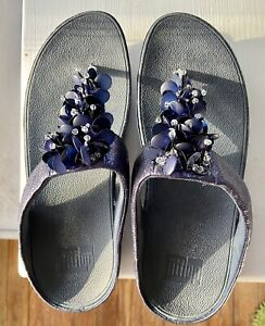 Fitflop Verna Blue Sequin Flat Wedge Thong Sandals Size 9