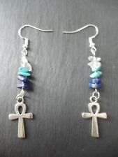 Lapis Lazuli and Quartz Ankh Earrings 925 Silver Hooks Crystal Chakra Luck Gift
