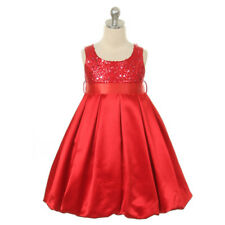 Red Big Girl High Waist Style Satin Sequin Bodice Dress Size 10