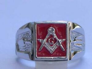 10x10 mm Masonry 925 Sterling Silver Red Enamel Square Mason Men Ring Size 13
