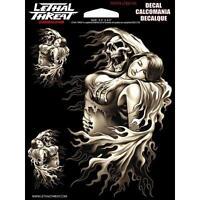 Lethal Threat Sticker Motorrad Auto Roller Aufkleber Harley REAPER GIRL LT88144