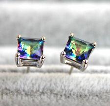 18K White Gold Filled - Square Blue MYSTICAL Rainbow Topaz Women Stud Earrings