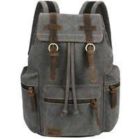 VBG VBIGER Canvas Backpack Vintage Leather Casual Bookbag Laptop - GRAY