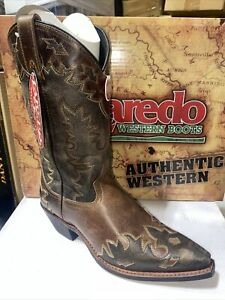 Laredo Mens Brown Leather W/ Gray Overlay Snip Toe Style 6760 Size 9D
