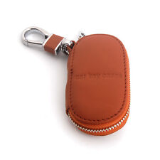 Brown Leather Remote Smart Case Key Holder Bag Cover Zipper Keychain Fob No Logo