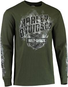 Harley-Davidson Mens No Stop Signs Smokey B&S Moss Green Long Sleeve T-Shirt