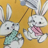 Vintage Mid Century Greeting Card Cute Boy Girl Bunnies Anniversary Parents