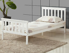 ViVo Single Bed in White 3ft Single Bed Wooden Frame White Pine Wood Bedroom New