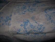 Rachel Ashwell 100% Linen Fabric English Garden Blue Cabbage Roses on Grain BTY