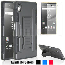 Black Heavy Duty Hybrid Shockproof Hard Stand Case Cover For New Sony Xperia Z5