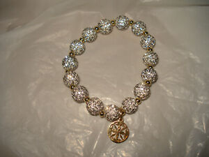 """Rustic Cuff 8"""" SILVER  Shamballa Crystal  Bracelet"""