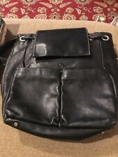 Perlina Medium Size Black Soft Leather Flap Backpack Purse (SC)