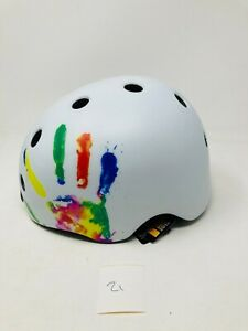 Melon Hand Print White Skate.Scooter, Cycle Helmet Size Small 46-52cm (21)