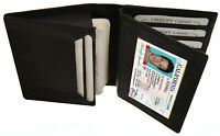 Black Men's Leather Bifold Credit Wallet 20+ Card ID Center Flap Thin Holder