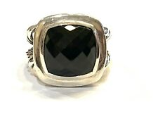 David Yurman Sterling Silver 14mm Black Onyx Albion Ring, Size 7