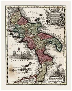 Old Vintage Map of Kingdom of Naples Italy Seutter 1744