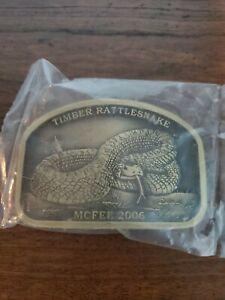 Mcfee 2006 Timber Rattlesnake Spec Cast Limited Ed Brass Belt Buckle Sealed