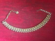 "Vintage Lisner Gold Tone Choker Necklace Rhinestones 16"""