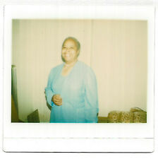 Vintage 80s Kodak Instant PHOTO Smiling Black Woman In Light Blue Dress