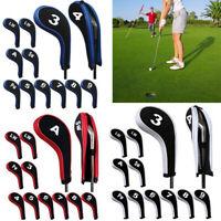 12pcs a set Number Print Golf Hybrid Club Iron Head Covers With Zipper Long Neck