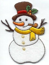 CHRISTMAS EMBROIDERED IRON ON SNOWMAN APPLIQUE 2666-J