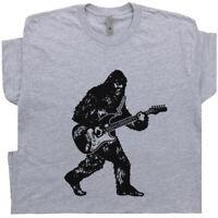Bigfoot Guitar T Shirt Sasquatch Playing Electric Guitar Bass Acoustic Funny Tee