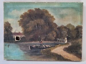 Small Naive Oil Painting on Canvas Rowing Boat or Punt Circa 1890 Signed