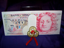 FSH063 Feng Shui Money Note Wallet + 3 Gold-Pated Coins