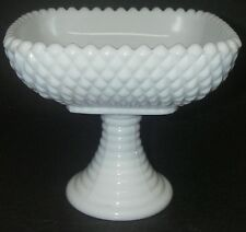 "L E Smith Glass DIAMOND Milkglass Milk White Compote 5¼"" square beaded."