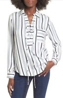 WAYF Dean Lace Up Striped Long Sleeve V-Neck Blouse Top Sz Small New 4911
