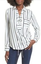 WAYF Dean Lace Up Striped Long Sleeve V-Neck Blouse Top Sz M/L 9694