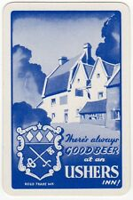 Playing Cards 1 Swap Card - Vintage USHERS BEER Brewery Inn English Country Pub