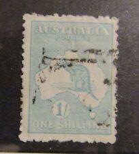 AUSTRALIA Sc #49 Θ used , 1/ ONE SHILLING Kangaroo stamp , mute cancel,