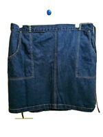 CROSSROADS Denim Jean Skirt, Wrap-Around tie in front, Sz 22w  VGC