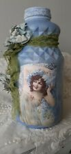 Vintage Lavender Blue Painted Glass Vase With Beautiful Vintage Lady