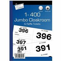 Assorted Colour 400 Jumbo Cloakroom Raffle Tickets Books Tombola Draw Numbered