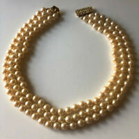 "Vintage 3 Strand Faux Pearl Necklace Gold Tone Choker 16 "" Inch Length."