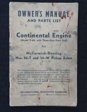 1945 CONTINENTAL Y-69 ENGINE McCORMICK-DEERING 50-T 50-W BALER OPERATORS MANUAL
