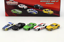 5-Car Set Mercedes-Benz AMG GT schwarz / grün / gelb / weiß / rot / blau 1:64