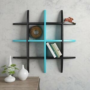 Wooden Wall Shelf Floating Shelves Display Decoration Globe Shape ,Blue & Black