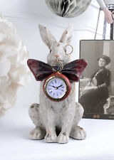 Horloge de cheminée blanc lapin alice dans pays des merveilles table montre