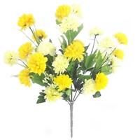 27 Flower Heads Cream & Yellow Chrysanthemum Bush/Bunch  | Use Indoor & Outdoor