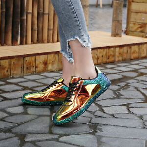 Womens Sneaker Flats Metallic Leather Glitter Fashion Sneakers Outdoor Running