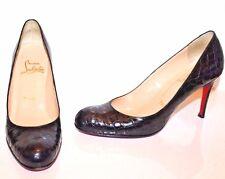 Christian Louboutin Shoes Black Crocodile Simple Pumps Size 38.5 EUR