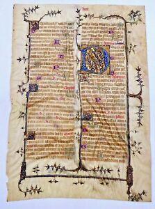 Rare 15th C ILLUMINATED MANUSCRIPT PAGE VELLUM signed