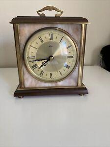 Vintage Metamec Wood / Brass And Onyx Mantle Clock